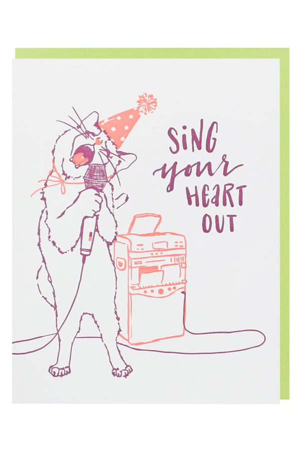 Smudgey Greeting Card - Cat Crooner