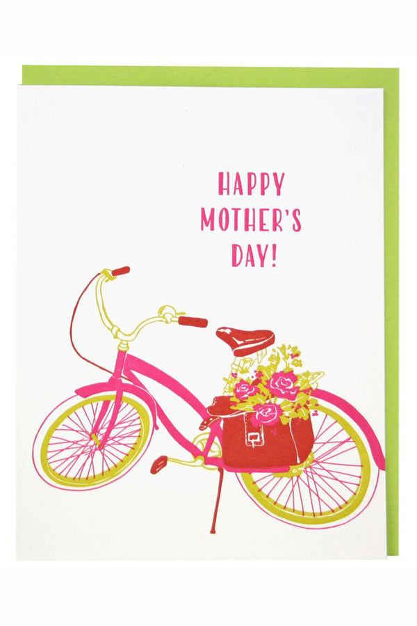 Smudgey Greeting Card - Mother's Day Bike Flowers