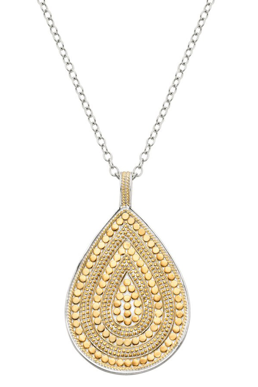 AB Beaded Teardrop Necklace - Gold & Silver