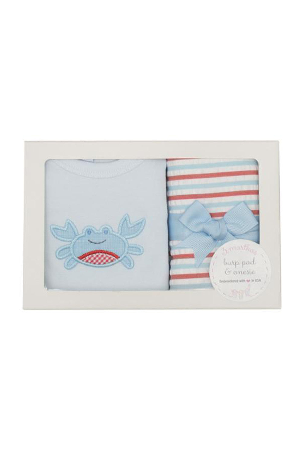Boxed Burp Pad & Onesie Set - Crab