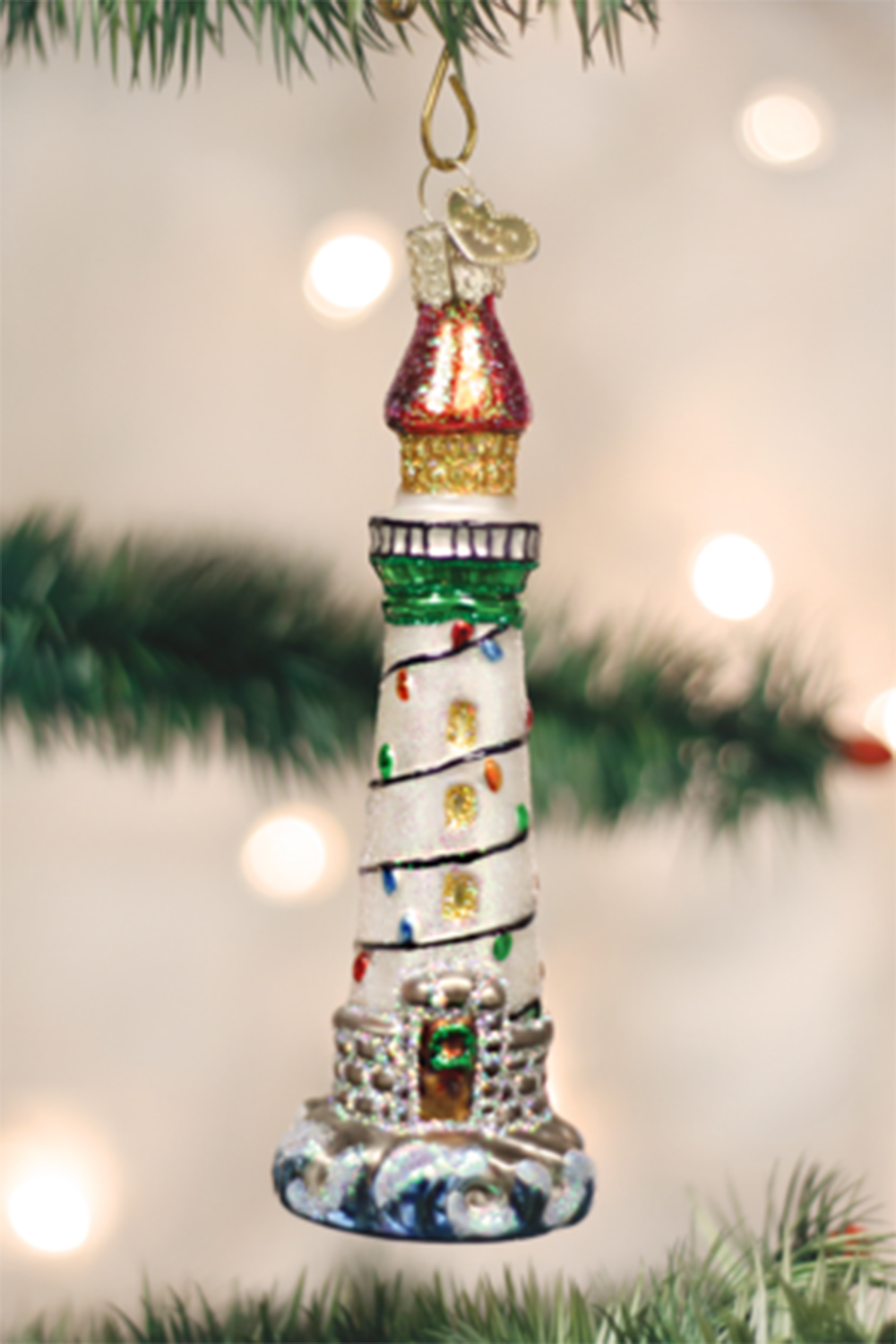 Glass Ornament - Holiday Lighthouse
