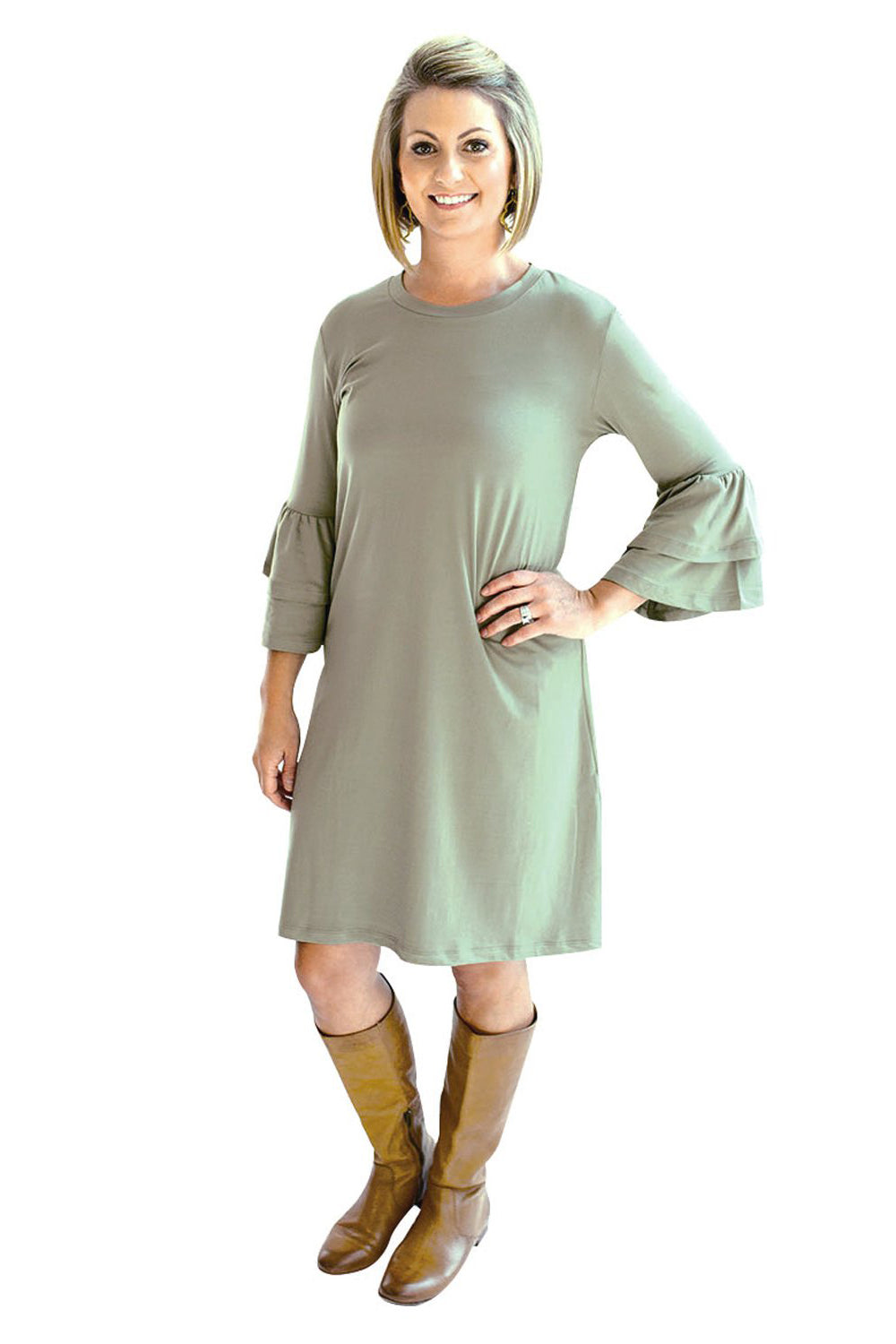Ruffle Sleeve Dress - Olive
