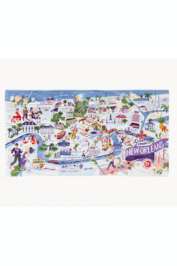 Destination Map Beach Towel - New Orleans