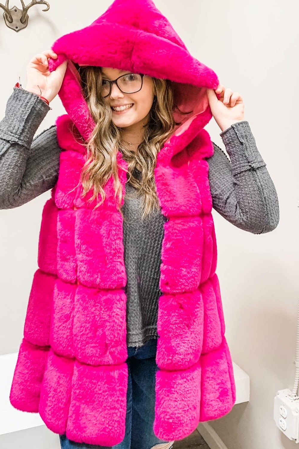 Hurley Hooded Vest - Hot Pink
