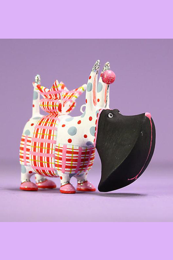 Mini Ornament - Agnes Plaid Scottie Dog
