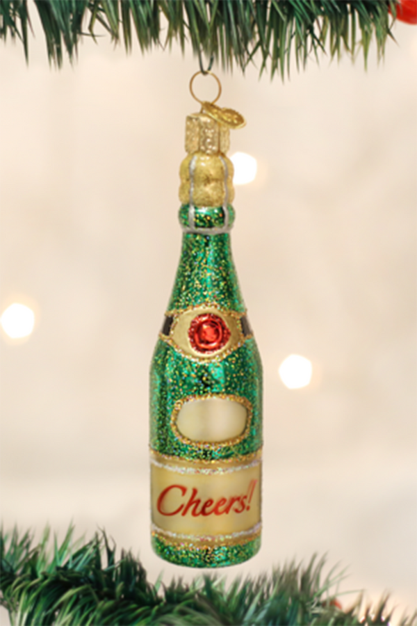 Glass Ornament - Cheers Champagne