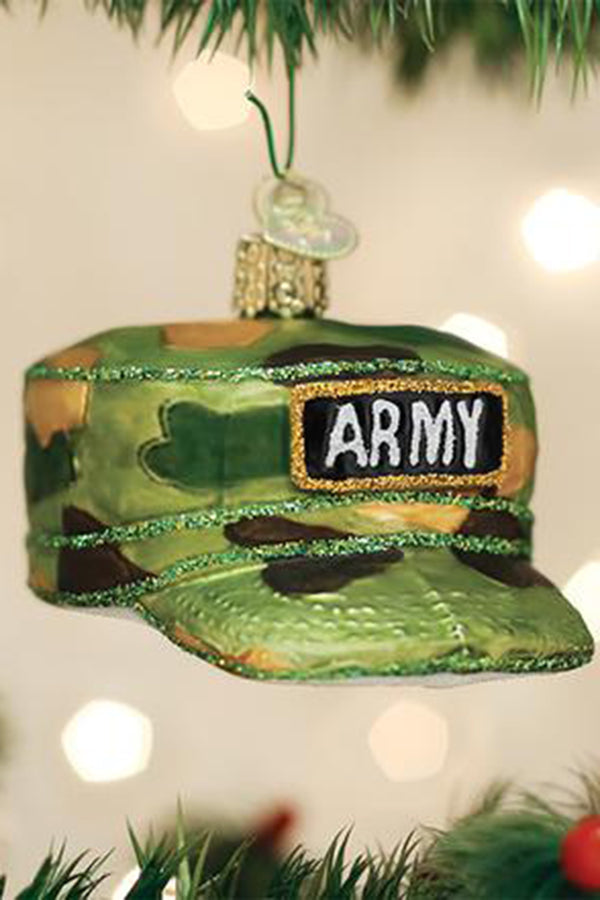 Glass Ornament - Army Cap