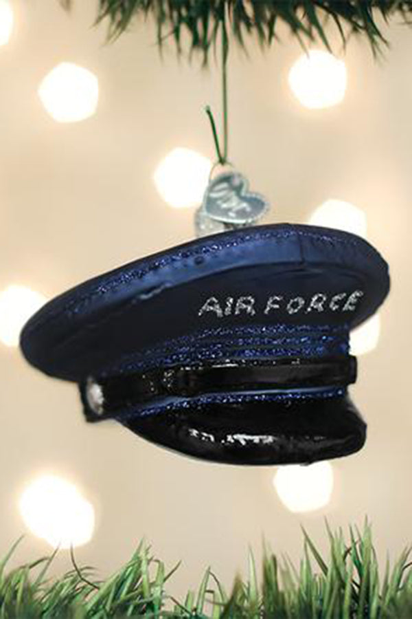 Glass Ornament - Air Force Cap