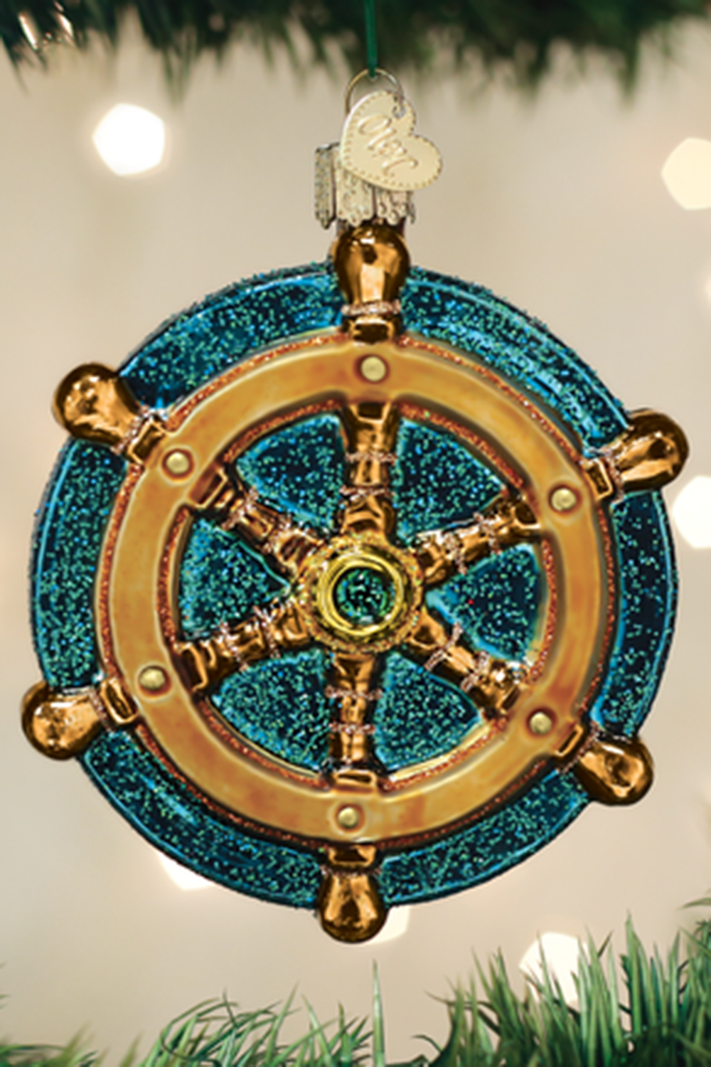 Glass Ornament - Ships Wheel