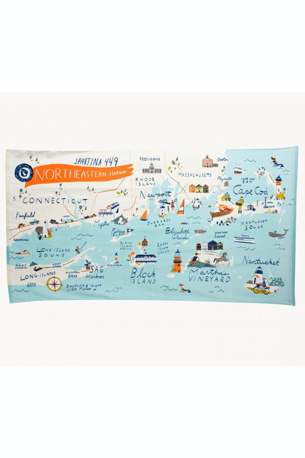 Destination Map Beach Towel - Northeastern Harbors