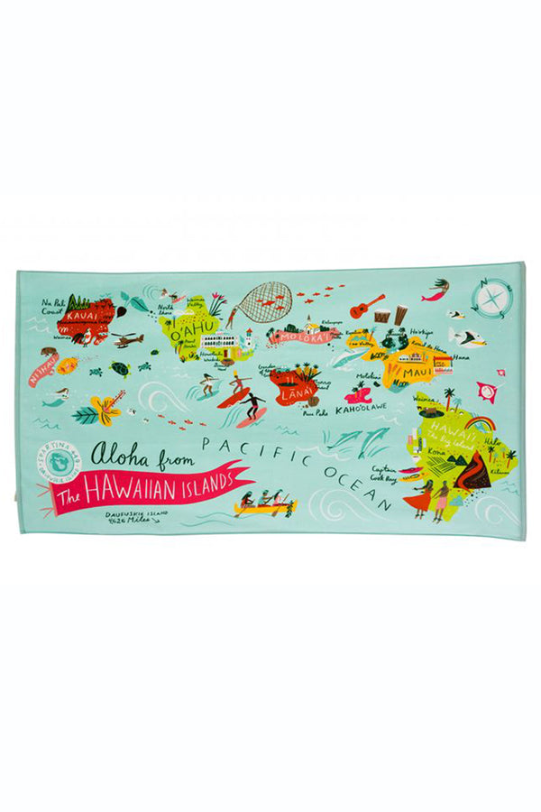 Destination Map Beach Towel - Hawaiian Islands
