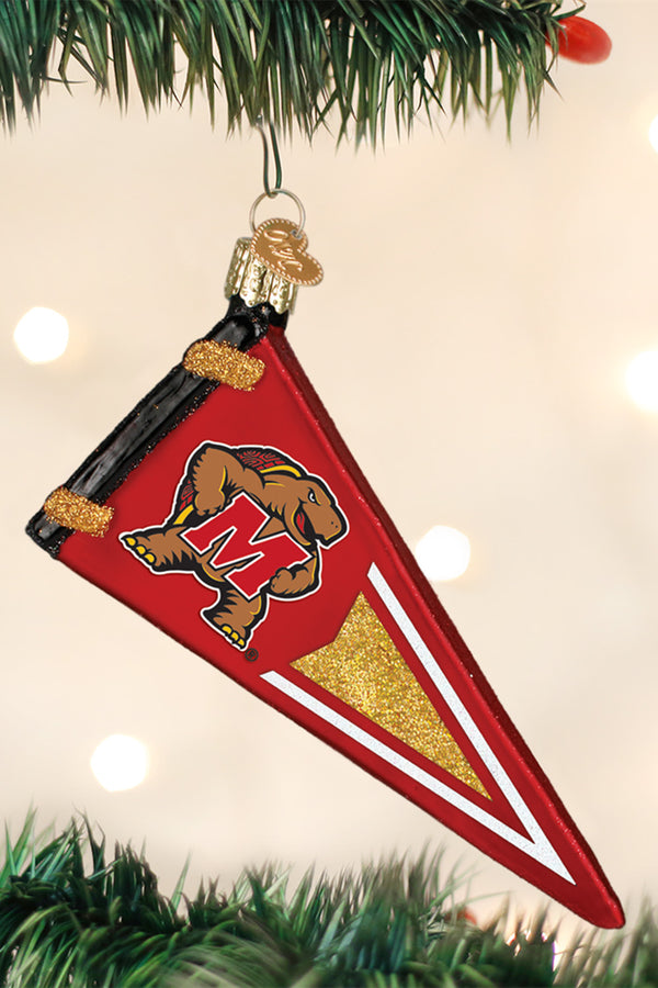 Glass Ornament - University of Maryland Terrapins Pennant