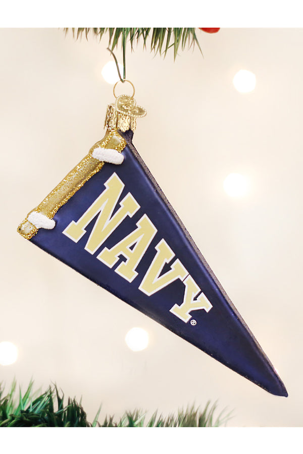 Glass Ornament - Navy Pennant