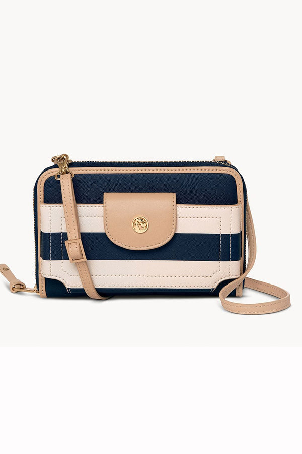 Multi-Phone Crossbody Purse - Navy Stripe