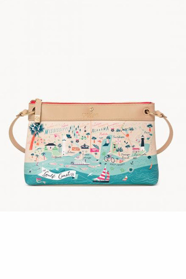 Destination Map Crossbody Purse - Gulf Coast