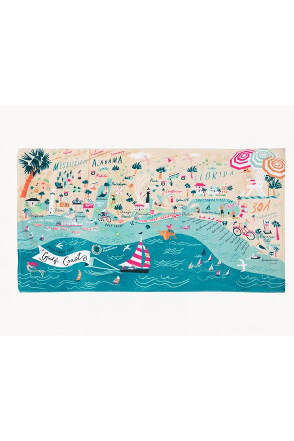 Destination Map Beach Towel - Gulf Coast