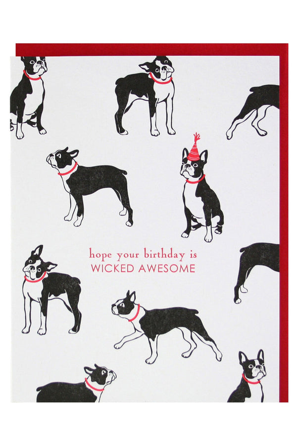 Smudgey Greeting Card - Boston Terrier