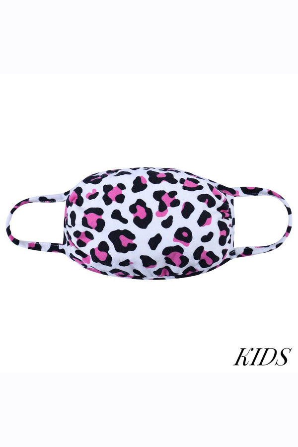 CHILD SIZE Cloth Face Mask - Pink Leopard