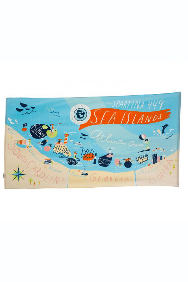 Destination Map Beach Towel - South Carolina Sea Islands