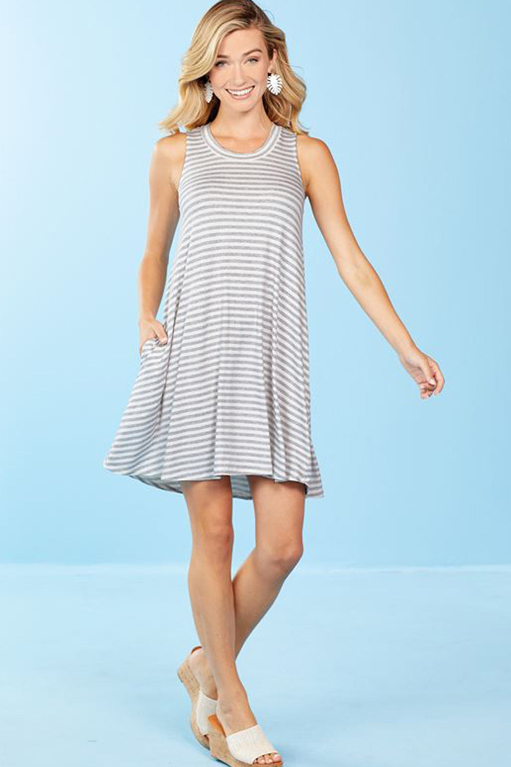 Maya Swing Dress - Gray Stripe