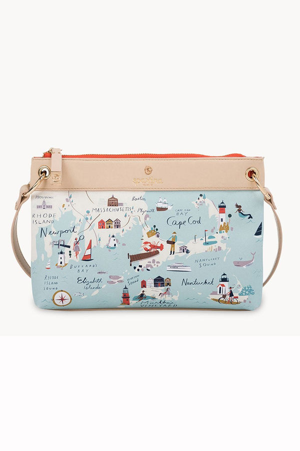 Destination Map Crossbody Purse - Northeastern Harbors