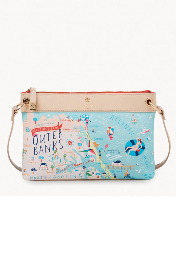 Destination Map Crossbody Purse - Outer Banks