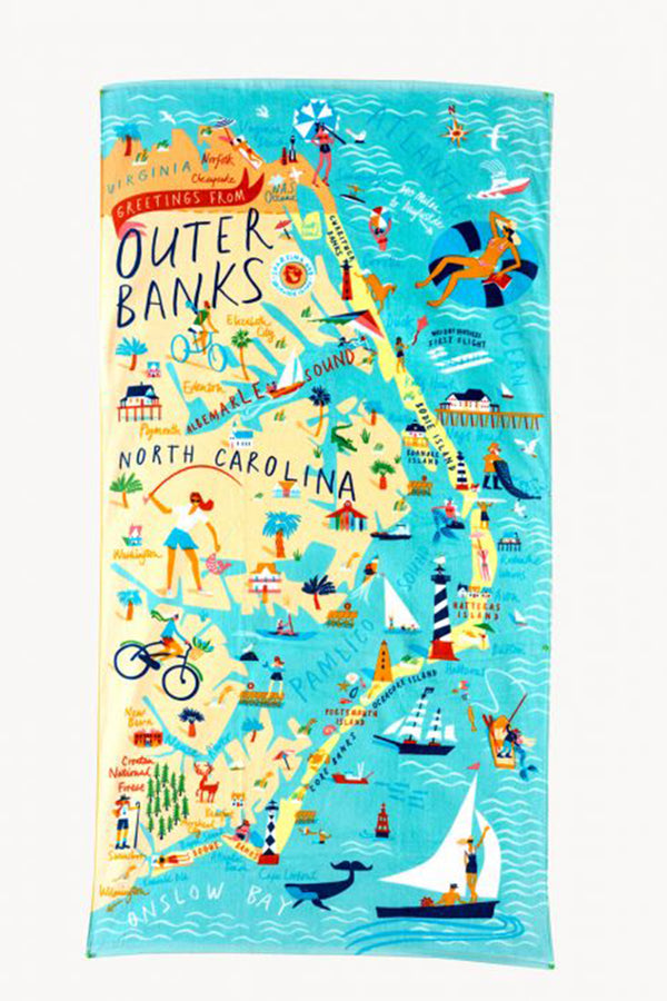 Destination Map Beach Towel - Outer Banks