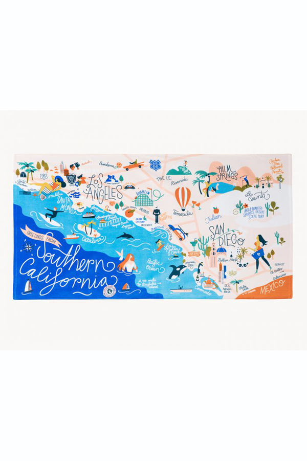 Destination Map Beach Towel - Southern California