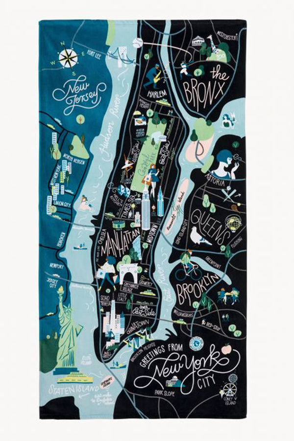 Destination Map Beach Towel - New York City
