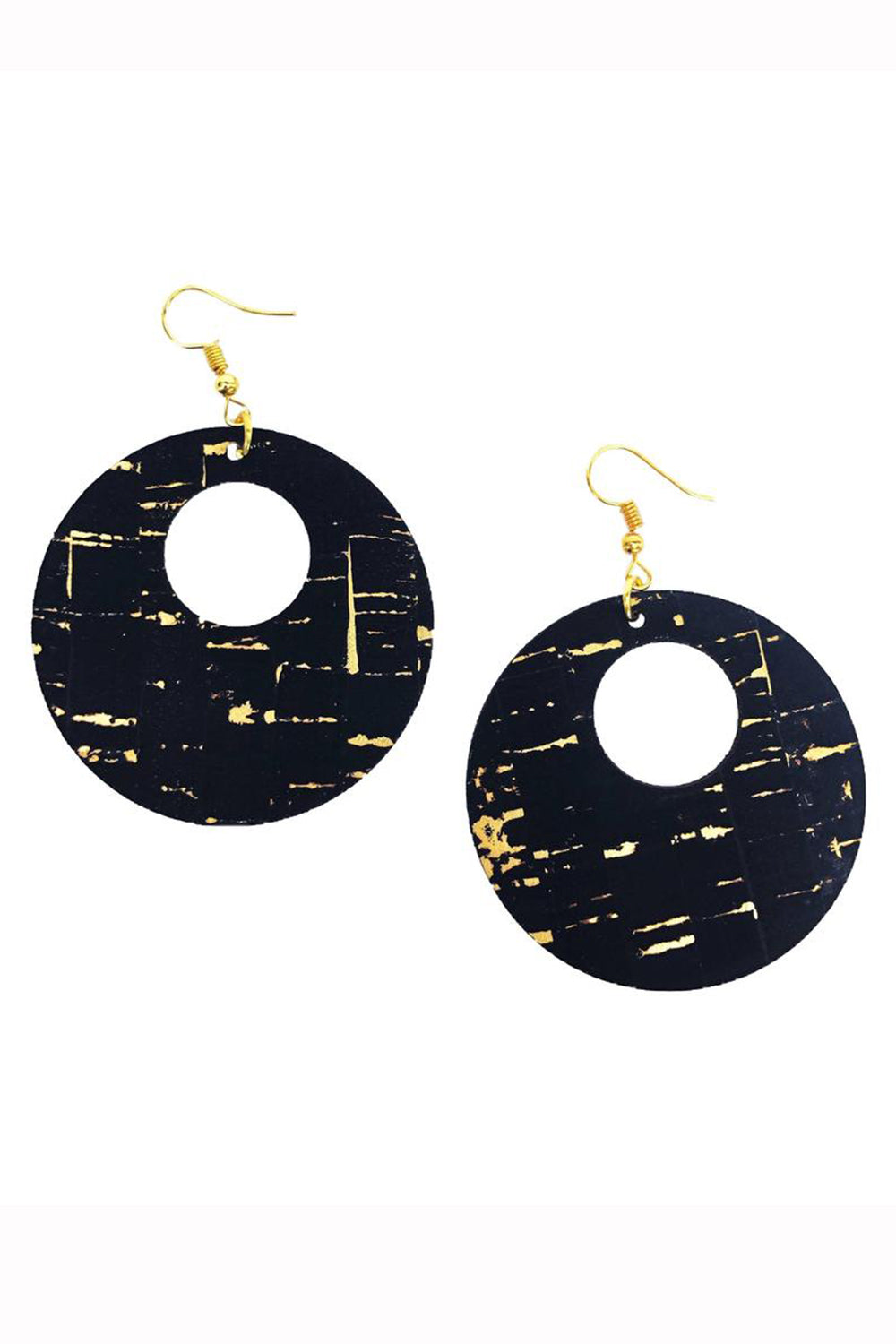 Cork Double Circle Earring - Black Gold