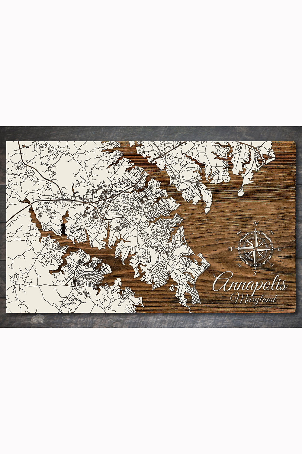 FP Wooden Map - Annapolis, Maryland (White)