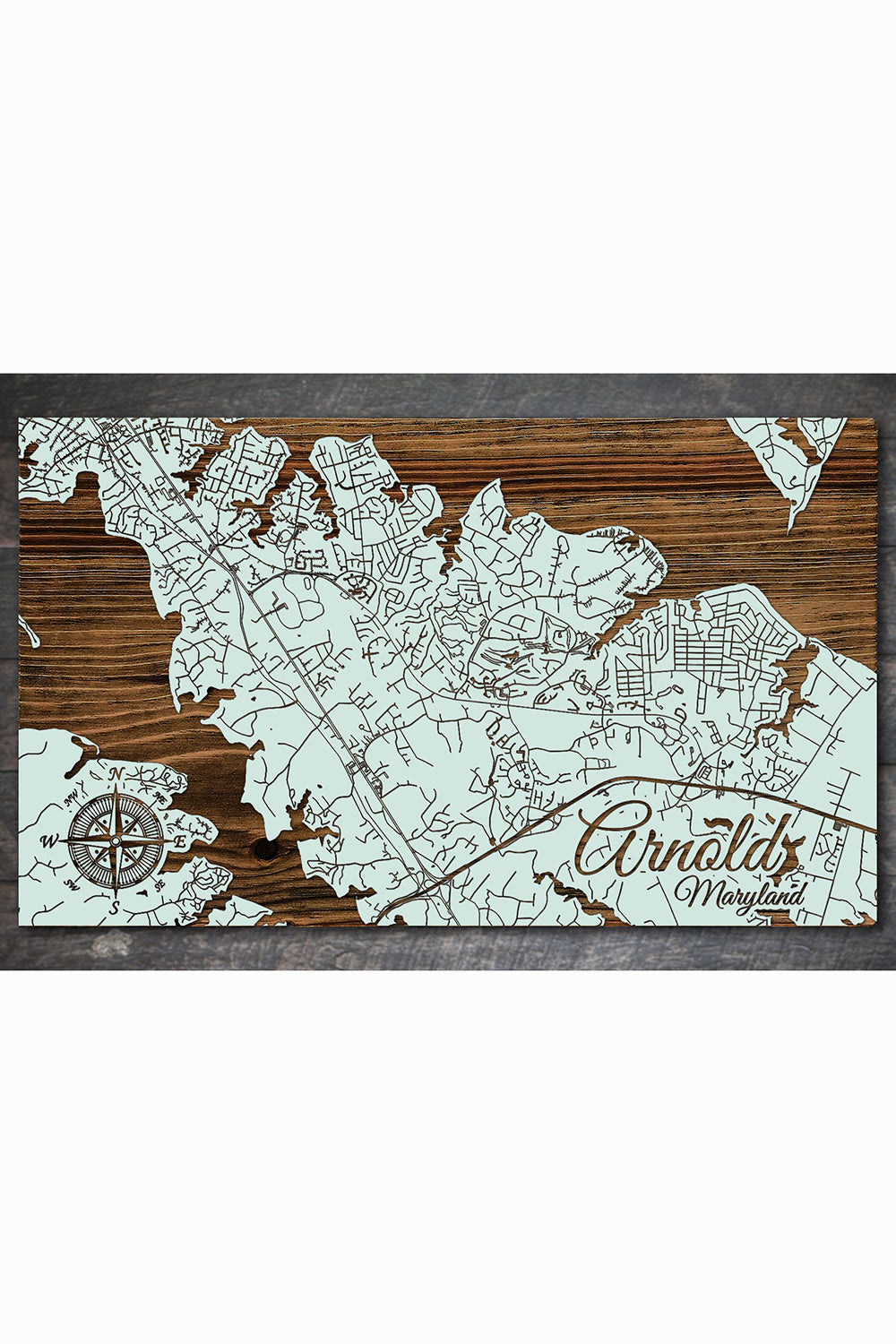 FP Wooden Map - Arnold, Maryland (Seaglass)
