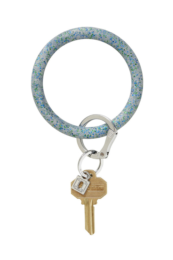 The BIG O Key Ring *Silicone* - Blue Frost Confetti