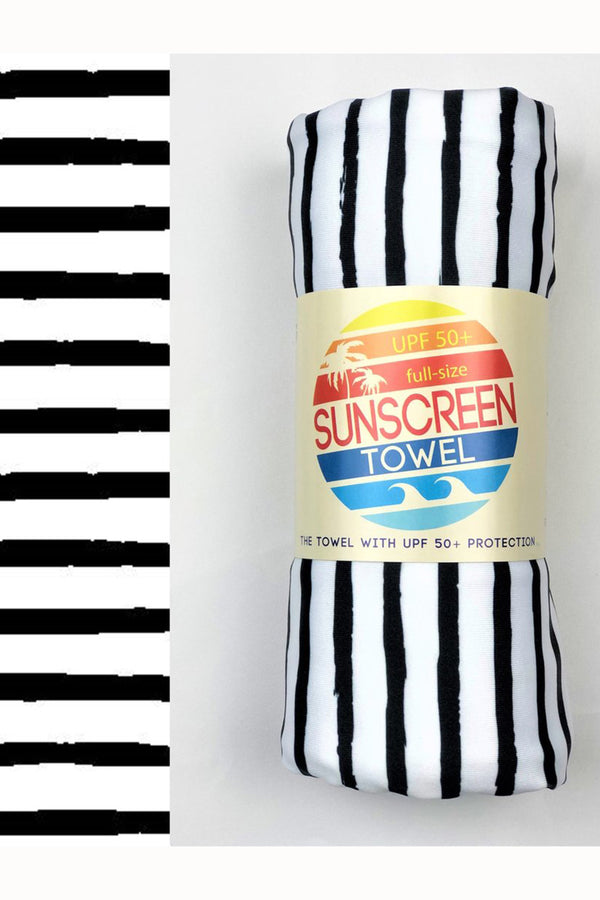 UPF 50+ Sunscreen Towel Full Size - Black Stripes