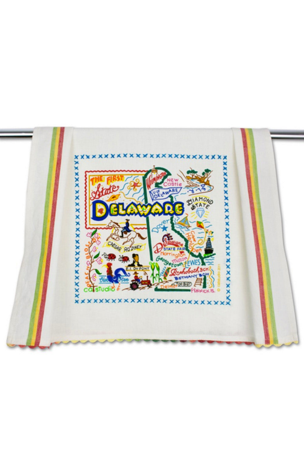 Embroidered Dish Towel - Delaware