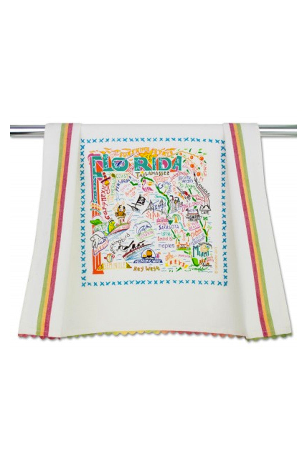 Embroidered Dish Towel  - Florida