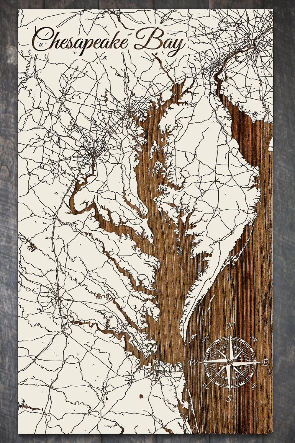 FP Wooden Map - Chesapeake Bay (White)
