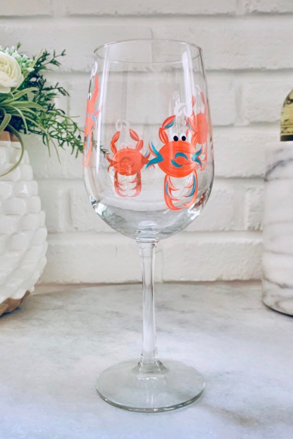 Crab Stemmed Wine Glass - Coral Aqua