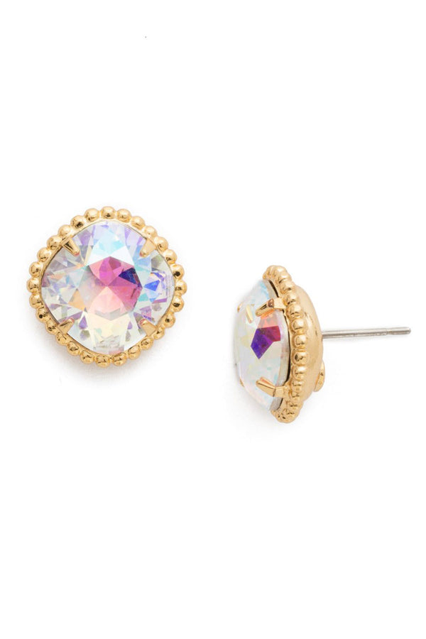 Cushion Cut Solitaire Stud Earring - Crystal Abalone