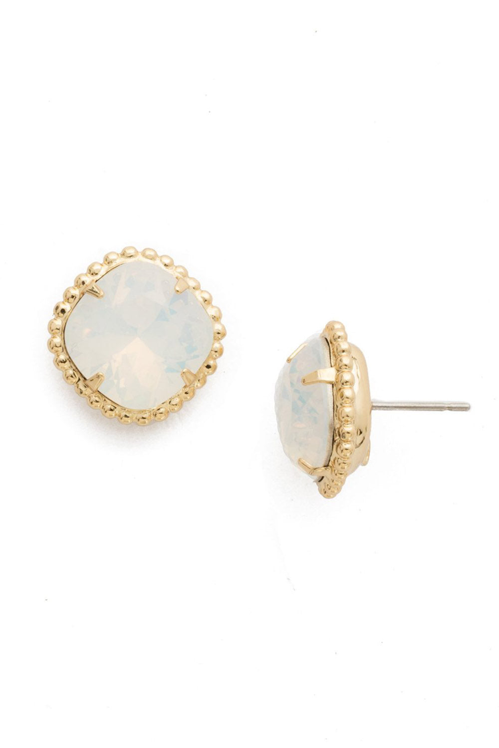 Cushion Cut Solitaire Stud Earring - White Opal