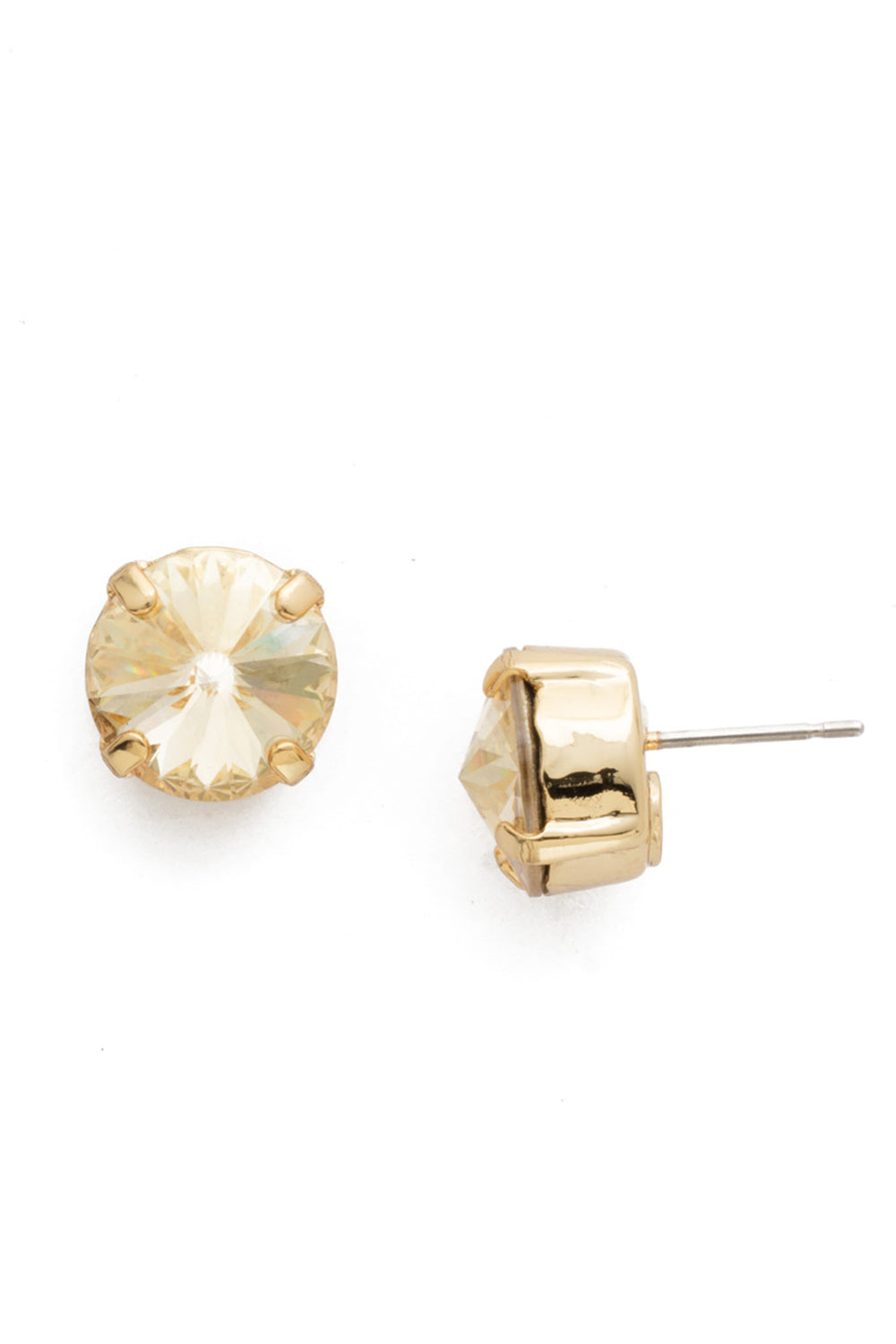 Round Crystal Stud Earring - Crystal Champagne