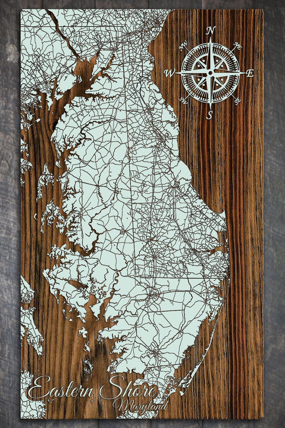FP Wooden Map - Eastern Shore (Seaglass)