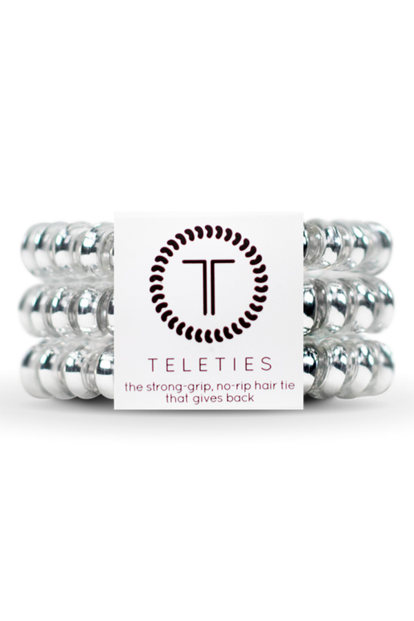 Teleties Hair Ties - Electric Silver