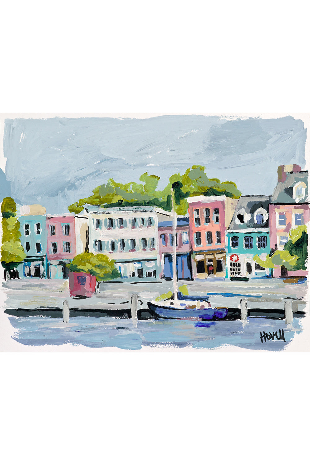 Kim Hovell Matted Print - Fells Point Fleet Street
