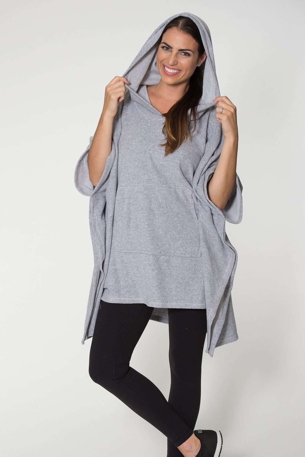 Sherpa Poncho - Heather Grey