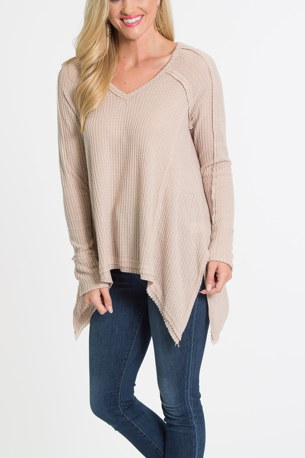 Melody V Neck Pullover Top - Oatmeal
