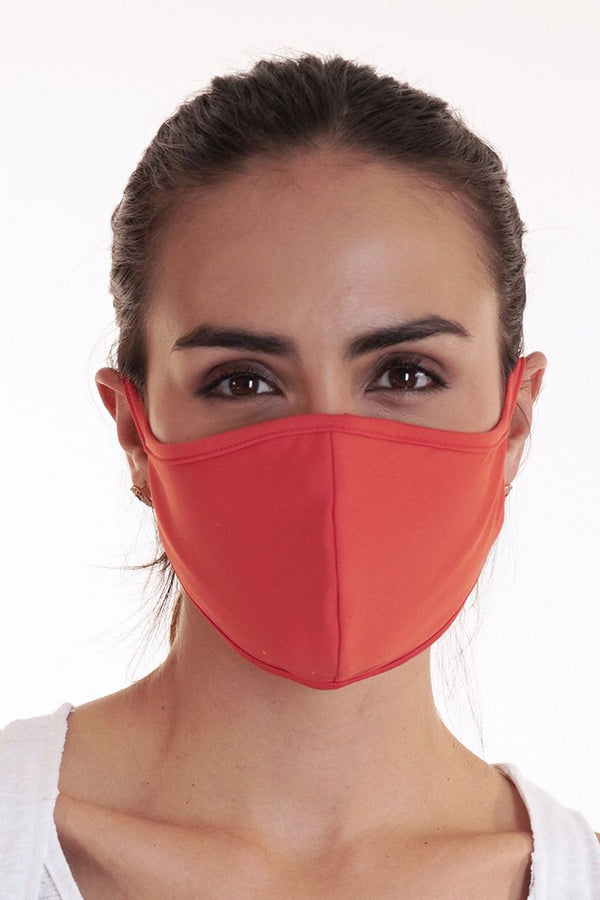 Reversible Face Mask - Plain Dark Coral
