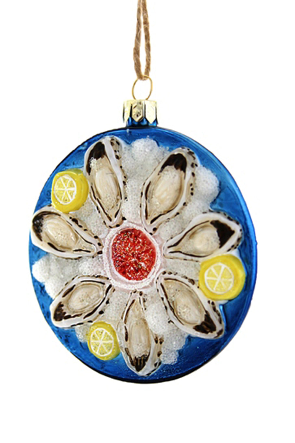 Glass Ornament - Plate of Oysters
