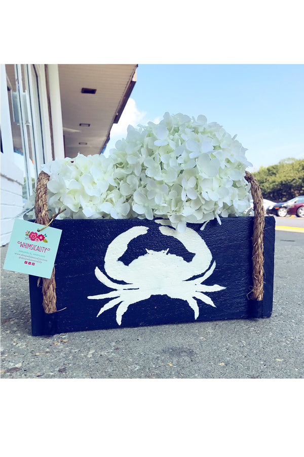 Wooden Nautical Box - Navy Crab