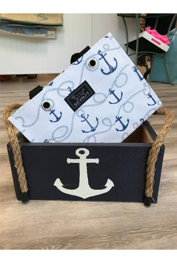 Wooden Nautical Box - Navy Anchor